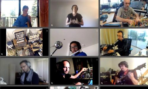 Screengrab of a JackTrip-powered music jam.